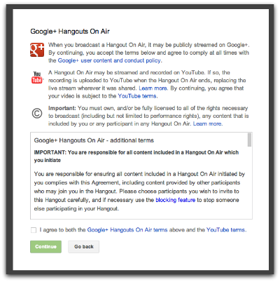 google hangouts on air terms